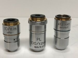 Lot Of 3 Microscope Objectives Pl 100 1 25 Oil 160 0 17 40 0 65 10 0 25 160