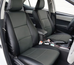 Toyota Corolla Le 2014 2019 Black charcoal S leather Custom Fit Front Seat Cover