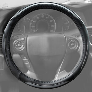 Carbon Fiber Pu Leather Steering Wheel Cover Standard Size In Black White