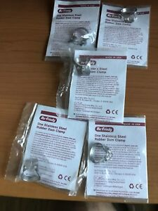 Lot Of 5 Hu Friedy Dental Satin Steel Rubber Dam Clamps