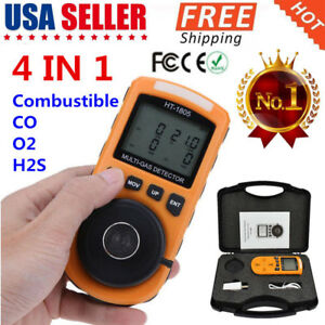 4 in 1 Multi gas Detector Tester O2 Lel H2s Co Analyzer Harm Gas Density Ly