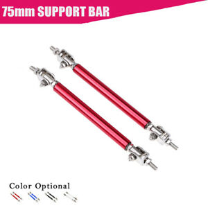 3 Front Adjustable Splitter Lip Spoiler Support Rod Strut Tie Bar Red