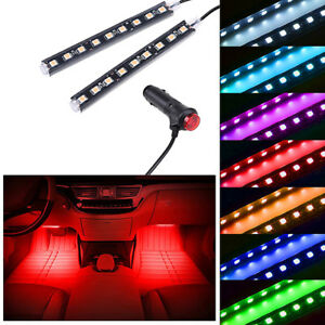 2x 9 Led Red Car Interior Atmosphere Footwell Strip Light Usb Decorative Lamp