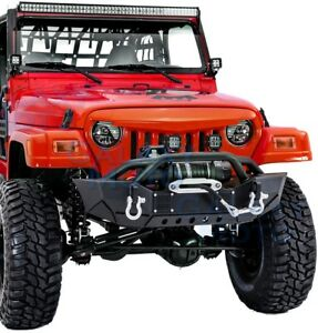 X Rock Crawler Front Bumper Winch Plate 2xled Light For 97 06 Jeep Wrangler Tj