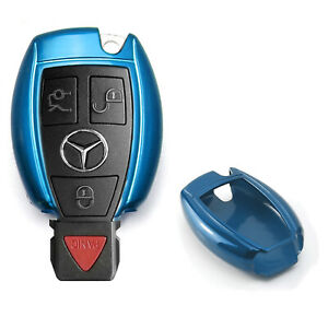 Exact Fit Glossy Blue Remote Smart Key Fob Shell For Mercedes C E S M Class Etc