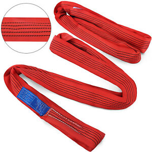 15ft Endless Round Lifting Sling Recovery Strap For Choke lifting Red