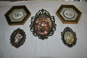 Lot Of 3 Ornate Oval Brass Metal Frames Glass Floral Italian 2 French