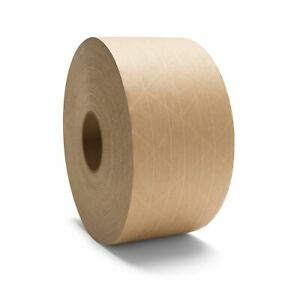 Gum Tape Reinforced 3 X 450 Water Activated Kraft Paper Brown Tapes 100 Rolls