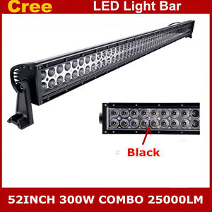 52inch 300w Led Light Bar Combo Offroad Driving 4wd Truck Jeep Ford Black 48 51