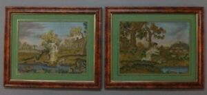 Pair Of Antique Victorian Embroidered Needlework Panels Detailed W Oil Painting