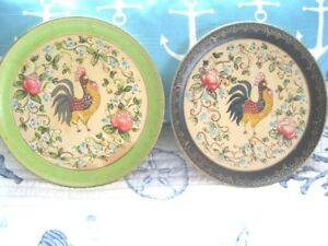 2 Vintage Green Black Paper Mache Tole Tray French Country Roosters Flowers