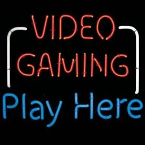 New Neon Sign video Gaming Play Here Mt Vernon Electric Sign 110v