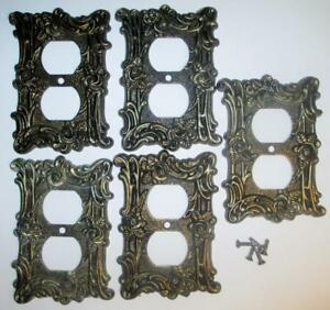 5 Vintage American Tack Hardware Brass Wall Plate Outlet Covers 60d W Screws