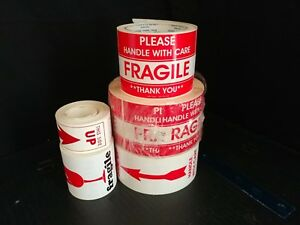 1 500 Labels Fragile Handle With Care This End Up Package shipping Stickers