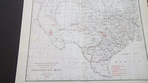 1891 Texas Map W Ind Territory Geology Julius Bien Co Lithograph