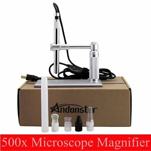 Andonstar 500x 2mp Usb Digital Microscope Video Webcam Magnifier Camera Stand To