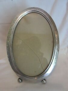 Antique Footed Sterling Silver Oval Photo Frame Floral Embossed 10 By 7