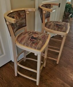 Superb Pair Mid Century Vintage Wood Bar Counter Stool Chairs Golf Themed Fabric