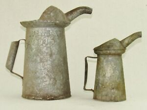 Vintage Galvanized Oil Gas Station Measuring Cans