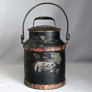 Antique Primitive Vtg Toleware Hand Painted Cow Tin Cream Milk Can Bail Handle