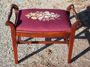 Vintage Mahogany Floral Needlepoint Piano Bench Vanity Chair Sewing Stool