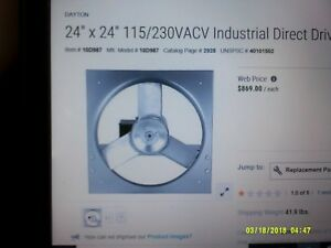 Dayton Industrial Direct Drive Exhaust Fan 24 X 24 3 4 Hp