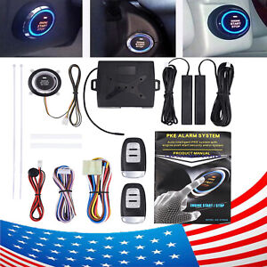 Car Alarm System Push Button Start Keyless Lock Ignition Starter Remote Control