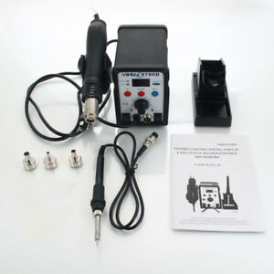 Yihua 8786d 2in1 Smd Soldering Iron Hot Air Rework Station W 3 Nozzle 110v 50hz