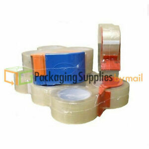 2 X 55 Yard Carton Sealing Packaging Packing Tape 2 Mil 24 Rolls With Dispenser