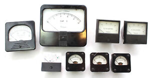 Lot Of 8 Vintage Gauges Simpson Rockwell Weston Triplet Volts Amps Dc Micro