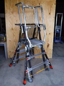 Little Giant 18503 Aerial Safety Cage Adjustable 3 Ft To 5 Ft Platform Ladder