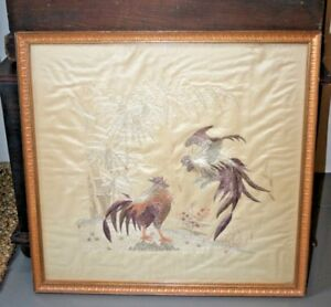 Antique Chinese Silk Embroidery Cock Fight Rooster Japanese Embroidered Panel 1