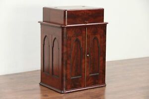 Victorian Gothic Antique Mahogany Sewing Bar Or Console Cabinet 29937