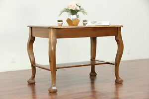 Quarter Sawn Oak Antique Library Table Or Writing Desk 29918
