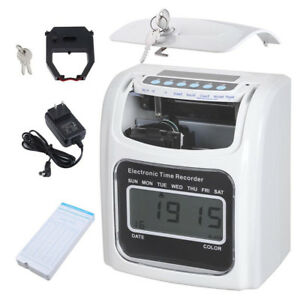 Punch Time Clock Employee Attendance Payroll Recorder Lcd Display W 50 Cards Zn