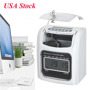 Lcd Attendance Punch Time Clock Office Employee Payroll Recorder With 50 Card Zc