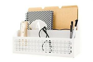 Wooden Desk Organizer Office Letter Mail Sorter White Stationery Holder Table