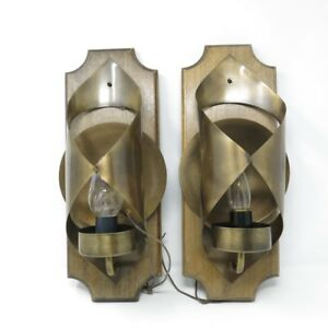 Mid Century Vintage Brutalist Sculpted Metal Wood Becker Pair Wall Sconce Light