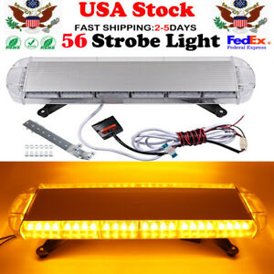 30 56 Led Emergency Warning Strobe Light Bar Tow Roof Bolt Lamp Amber Yellow