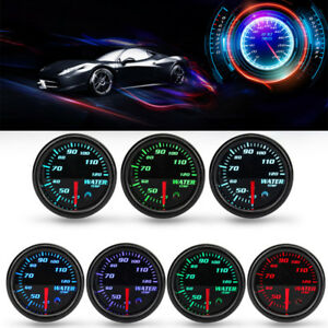 Universal Car 2 52mm 7 Colors Led Water Coolant Temperature Temp Gauge Meter