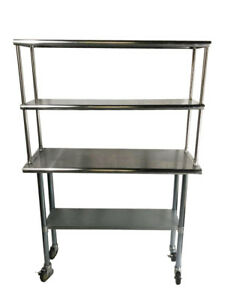 Stainless Steel Prep Work Table 30 X 60 Double Overshelf 12 X 60 With Casters