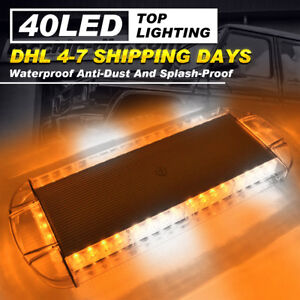 40 Led Strobe Lights 22inch Emergency Beacon Warning Car Truck Roof Top Amber w