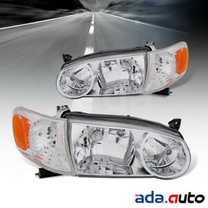 For 2001 2002 Toyota Corolla Chrome Factory Style Headlights corner Signal Lamps
