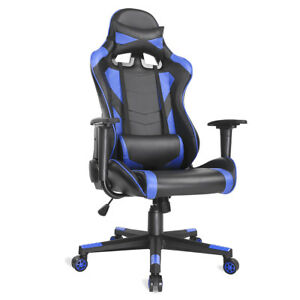 Executive Office Gaming Chair High Back Racing Computer Chair Pu Leather Blue