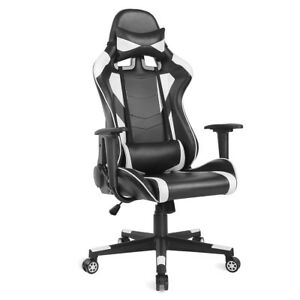 Executive High Back Office Gaming Chair Racing Computer Chair Pu Leather White
