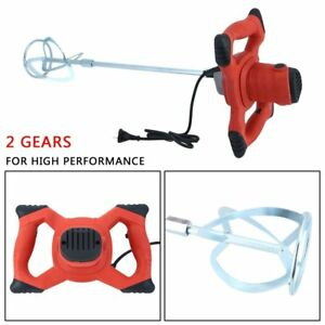 110v Electric Mortar Mixer 1500w Dual High Low 6 Speed Gear Cement Grout Red Sx