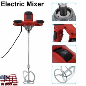 New Electric Mortar Mixer 1600w Dual High Low Gear 6 Speed Paint Cement Grout Dg