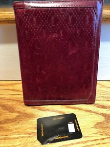 Unisex Ysl Yves St Lauren Brown Leather Notepad Cover Pen Holder Vintage