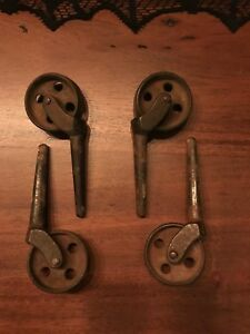 Vintage Antique Furniture Metal Iron Wheel Casters Set Of 4