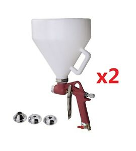 2x Air Hopper Spray Gun Paint Texture Drywall Wall Construction Painting W 3 Noz